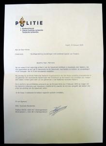 Brief van de politie 's Hertogenbosch over de kweek van Paddo's en Truffels